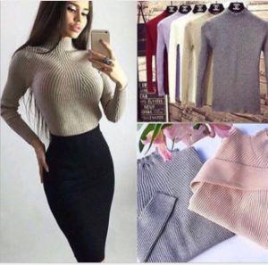 Lavori o indumenti a maglia costolati di colore delle donne di inverno dei manicotti lunghi puri del Turtleneck