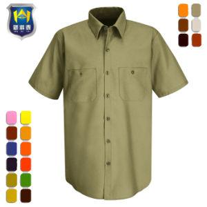 Het Overhemd.De Korte Van Het Katoenen Van De Koker Polyveiligheid Workwear Van