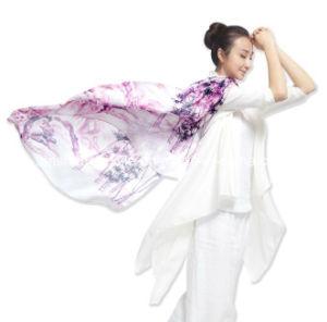100%Lenço impresso de seda para Mulher Senhora
