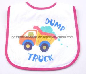 中国の工場OEM農産物によってカスタマイズされるデザイン漫画の青い綿の昇進の印刷された赤ん坊の胸当て