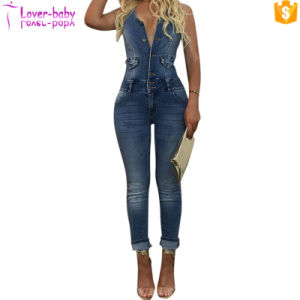 Sexy Playsuit Skinny Blue Jeans Denim salopettes Jumpsuit L55317