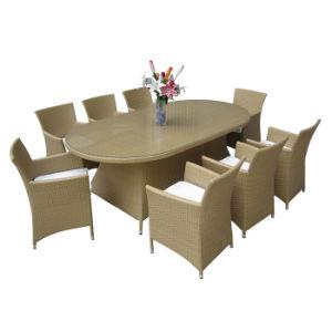 Diseño clásico PE Rattan Muebles de Exterior Silla de Comedor mesa con vidrio