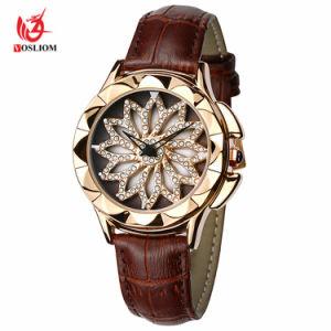Creativo de lujo de girar el dial Watch Moda Mujer Oro Diamante Señoras Torbellino Relojes Mujer Relojes de Pulsera de cuero -V130