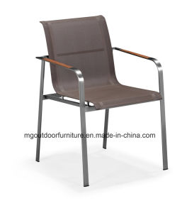 Venta caliente moderna silla de comedor Muebles de exterior con los brazos de madera de teca