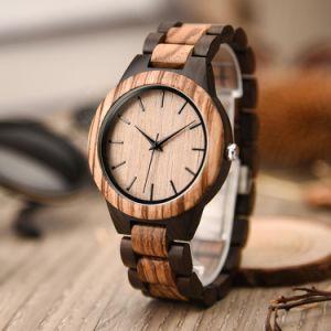 67ae1639b79c Vintage de madera de los hombres relojes marca OEM Logos caja redonda de  cuarzo japonés Relojes