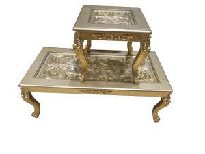 Mesa de madeira de luxo 1+2 1+4 com borda dourada de venda Tabela de chá quente para Dubai, Iraque, Arábia, design antigo Mobiliário doméstico