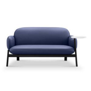 Couro moderna estância sofá com placa de escrita