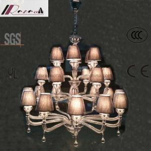 Lustre de cristal de estilo europeu com sombra de tecido para Hotel