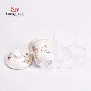 フィルターおよびふたのローズの花の茶マグのガラス陶磁器のコップが付いている陶磁器のマグの二重壁のガラスティーカップの創造的な透過マグのスリーピースのセット