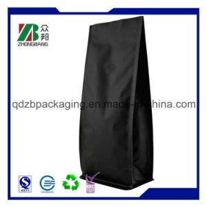 マットの弁が付いている黒いプラスチック平底のコーヒーバッグ