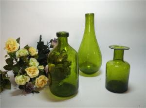 Handblown couleur vert bouteille de verre Vase en verre