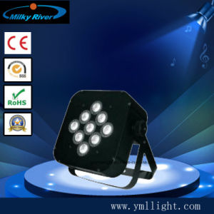9HP 9W 3NO1 LED RGB Flat Slim pode par com fio alimentado por bateria DMX PAR up Light