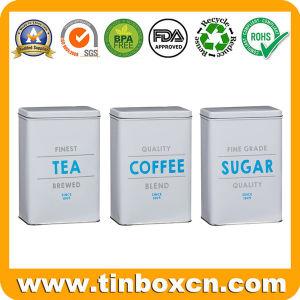 Set de café, té de azúcar rectangular de metal, latas de almacenamiento de alimentos