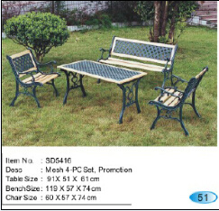Hot Sale Fer Aluminium mobilier de jardin, patio Pack Ensemble banquette
