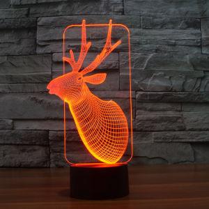 3D電気夜はシカの形の月ライトが付いているランプをつける
