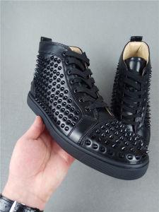El diseñador de modas pisos picos con clavos de la marca inferior rojo Zapatos Zapatos para hombres y mujeres amantes de la parte Zapatillas de cuero auténtico