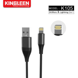 2-en-1 cable de carga de iPhone y Android, Durable USB Data Cable de sincronización y carga