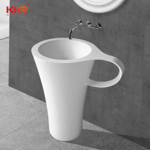 La porcelaine sanitaire WC Salle de bains du bassin de Surface solide socle de pierre du bassin du bassin autostable