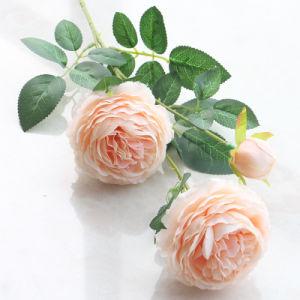 工場直接人工絹のシャクヤクの結婚式の花か実質の接触絹の花