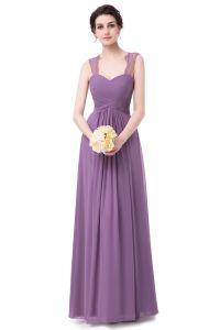 Lace Chiffon Sweetheart Ruched vestido de Noite longa de cintura elevada
