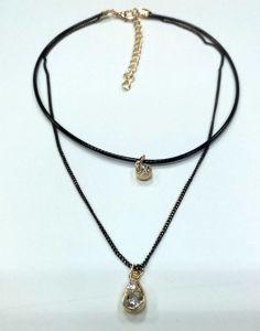 Doppio Choker Chain della collana con fascino con le pietre