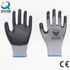 13G de elevada qualidade da camisa de poliéster com luvas de trabalho trabalho de segurança de nitrilo com certificação CE