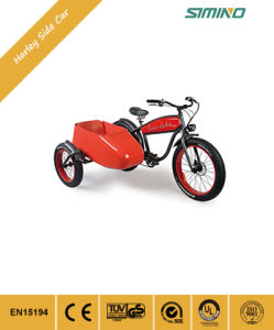 Três rodas do lado do vagão aluguer de bicicletas eléctricas