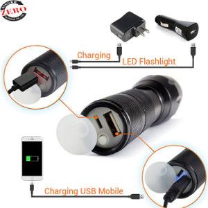 Lanterna LED recarregável USB alumínio Torch