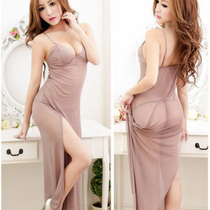 Fashion robe longue transparente Nightwear Lingerie vêtements avec G-String