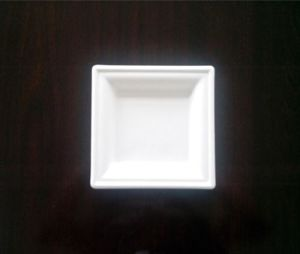 Fibre de bagasse de canne à sucre vaisselle biodégradable, 6 plaque carrée
