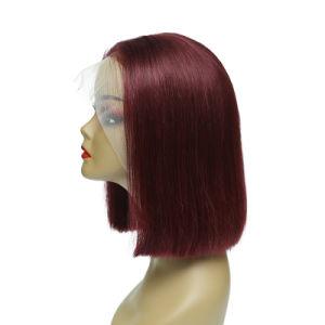Venda por grosso de Lace Front Perucas Red 99j curto Bob transparente