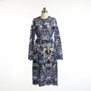 Nuevo Azul sexy vestido bordado de belleza para dama