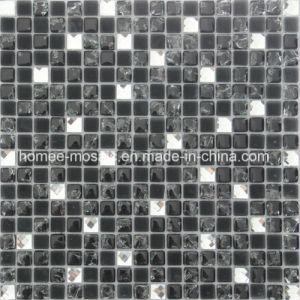 Noir Diamant blanc mixte en verre en cristal mosaïque miroir pour la conception de paroi