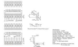 Fase2.54mm 2p ra Conector de Pinos