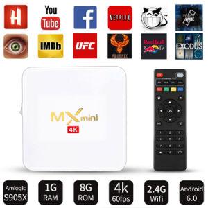 Heißer Verkaufs-MXmini weißer Android IPTV Fernsehapparat-Kasten S905X 1g DDR 8g Emmc 4K mit Netflix 2.4G WiFi Fernsehapparat-Kasten 2017 Media Player