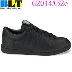 Sapatos de sapatilha de estilo tênis de couro preto da menina Blt