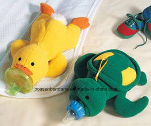 Babero de múltiples funciones del bebé del algodón del producto de la fábrica de China con el bolso de la botella que introduce de la historieta