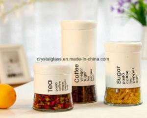 Copo de vidro de açúcar de especiarias com luva de metal