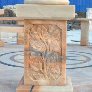 La Glorieta de mármol tallado con techo metálico (GSGZ-104)
