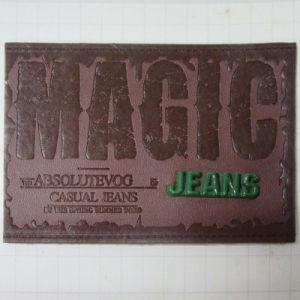 Etiqueta de couro em relevo personalizados Gofragem Jean Patch