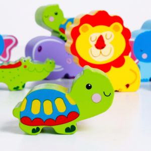 En bois bébé Montessori Kids Animal Jeu de blocs d'empilage de bande dessinée d'équilibre de jouets éducatifs
