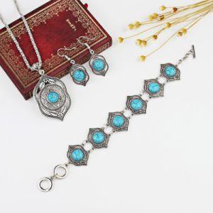 Aretes de Plata de la moda color turquesa Pulsera Collar Conjunto de bisutería