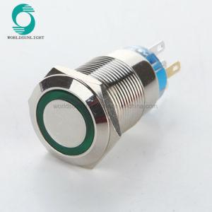 19mm 12V LED verte car Auto étanche de moteur de verrouillage métallique en acier inoxydable sonnette Bell Commutateur à bouton poussoir avertisseur sonore