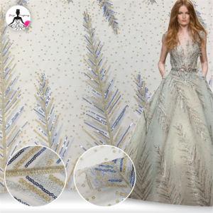 2019の新しいスパンコールのレースファブリック花の刺繍されたテュルのイブニング・ドレスのレースファブリック