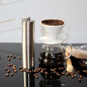 acier inoxydable Silver moulin à café mini manuel de la main à la main des grains de café Burr meuleuses meuleuses Mill l'outil de cuisine