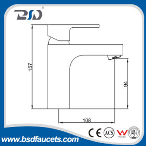 El cromo cuadrado del grifo del lavabo de cobre amarillo escoge el mezclador del lavabo de la maneta