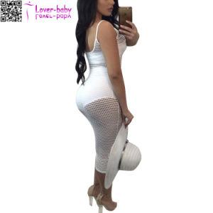 Correa de Spaghetti Sexy Vaciar Boho sólido vestido largo L51406