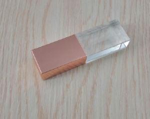 고품질 LED 가벼운 플래시 메모리 USB 드라이브 32GB 64GB를 가진 주문 3D 로고 로즈 금 결정 USB