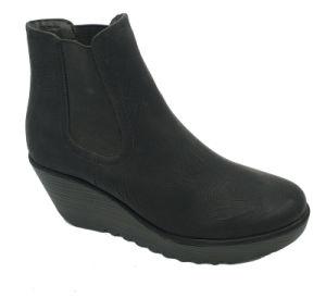 Fly Black Womens plate-forme de filtre en coin pompes chaussures supérieur en daim souple