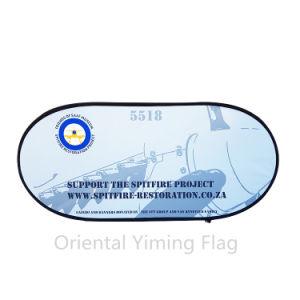 カスタムフルカラーの水平のイベントの展示会の折りたたみによっては広告のための旗が現れる